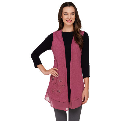 LOGO by Lori Goldstein Slub Knit Vest with Embroidery and Chiffon Hem