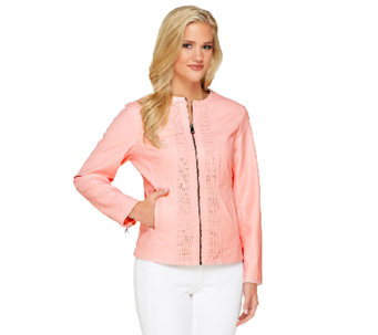 Susan Graver Zip Front Perforated Faux Leather Jacket - A263775
