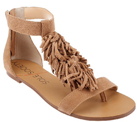 Sole Society Suede Sandals with Fringe - Koa