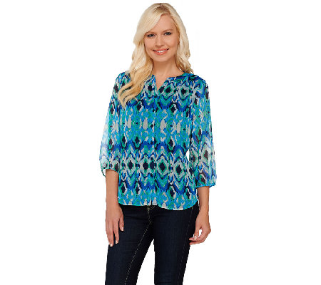 Liz Claiborne New York 3/4 Sleeve Printed Blouse