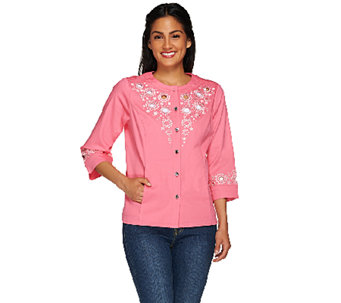 Bob Mackie's 3/4 Sleeve Embroidered and Cut Out Jacket - A266375