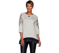 LOGO Lavish by Lori Goldstein Embellished 3/4 Sleeve Sweatshirt - A266775