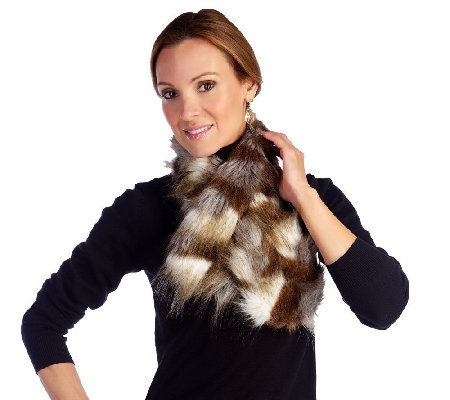 """As Is"" Joan Rivers Faux Fur Pull Thru Scarf"