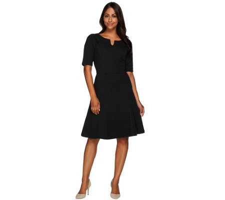 Liz Claiborne New York Knit Ottoman Dress with Elbow Sleeves