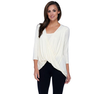 H by Halston Twisted Drape Front 3/4 Sleeve Knit Top with Tank Inset - A269375