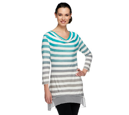 """As Is"" LOGO by Lori Goldstein Ombre Striped Knit Top with Chiffon Trim"