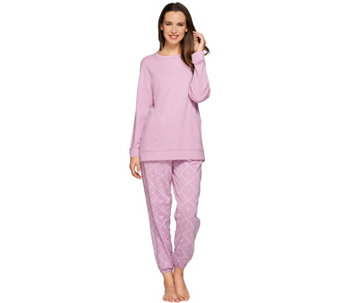 Stan Herman Petite Zen Diamond French Terry Tunic & Jogger Set - A272375