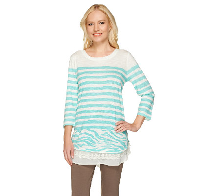 """As Is"" LOGO by Lori Goldstein Stripe Slub Top with Lace and Chiffon Hem"
