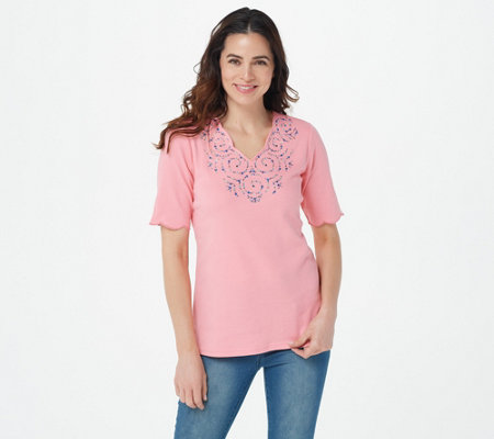 Quacker Factory Rhinestone Swirl Scalloped Elbow Sleeve T-shirt