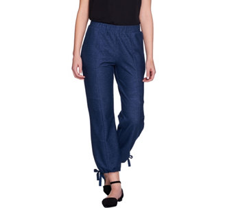 Lisa Rinna Collection Petite Pull-On Ankle Pants w/ Drawstring Hem - A274675