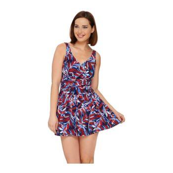 Denim & Co. Beach Ruched Flounce Swim Dress