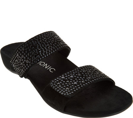 Vionic Orthotic Leather Gored Slide Sandals - Samoa