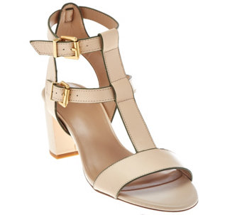 LOGO by Lori Goldstein Double Buckle T-Strap Block Heels - A277075