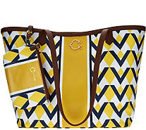 C. Wonder Graphic Geo Stripe Print Large Tote Handbag w/Pouch - A277975