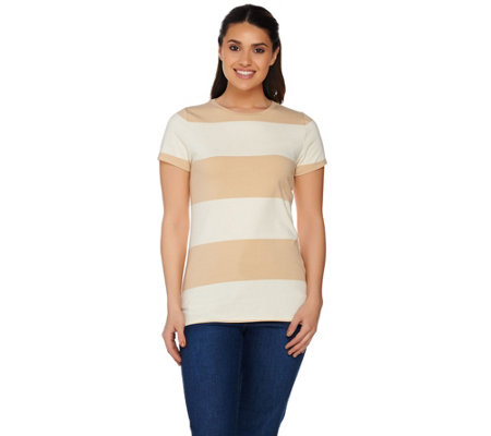 Isaac Mizrahi Live! Rugby Striped Knit T-shirt