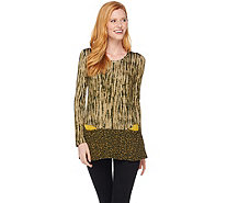 LOGO by Lori Goldstein Mixed Print Knit Top with Pockets - A279475