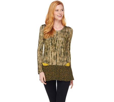 LOGO by Lori Goldstein Mixed Print Knit Top with Pockets