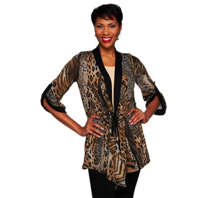 """As Is"" Attitudes by Renee Animal Print Jacket w/ Drawstring"