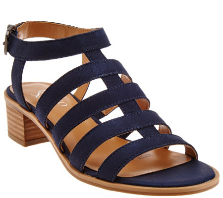 """As Is"" Franco Sarto Leather Multi-strap Sandals - Oriele"