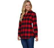 Denim & Co. Plaid Yarn Dyed Button Front Shirt