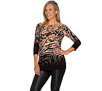 Susan Graver Printed Liquid Knit Tunic with Keyhole Trim - A284775