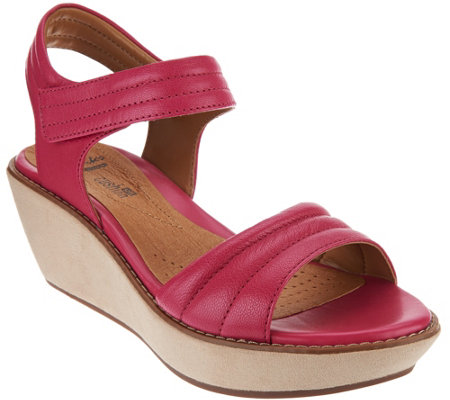 """As Is"" Clarks Leather Quilted Strap Wedge Sandals - Hazelle Alba"