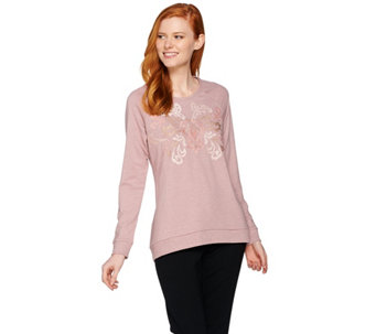 LOGO Lounge by Lori Goldstein French Terry Knit Top with Embroidery - A285375