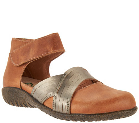 Naot Leather Flats with Ankle Strap - Tenei