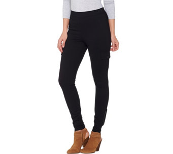 Lisa Rinna Collection Petite Cargo Leggings with Zip Detail - A285575