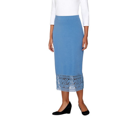 """As Is"" Liz Claiborne New York Midi_Skirt with Lace Hem"