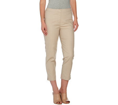 """As Is"" Dennis Basso Stretch Woven Crop Pants"