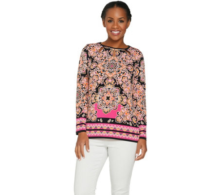 Susan Graver Printed Liquid Knit Top with Cutouts