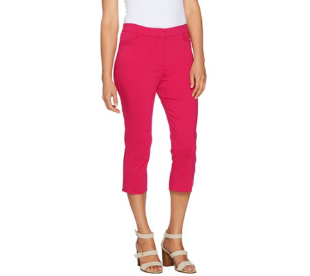 Susan Graver Ultra Stretch Zip Front Capri Pants