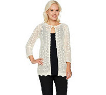 Joan Rivers Crochet Cardigan with 3/4 Sleeves - A291875