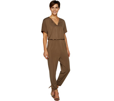 Lisa Rinna Collection Regular Dolman Sleeve Knit Jumpsuit