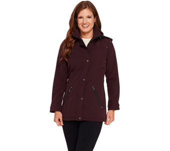 """As Is"" Liz Claiborne New York Softshell Jacket with Snap Details - A293375"