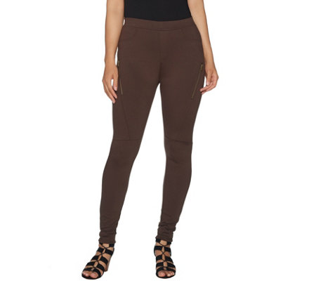 Lisa Rinna Collection Pull-On Twill Moto Leggings w/ Zip Detail