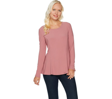 """As Is"" Dennis Basso Caviar Crepe Knit Long Sleeve Swing Top"
