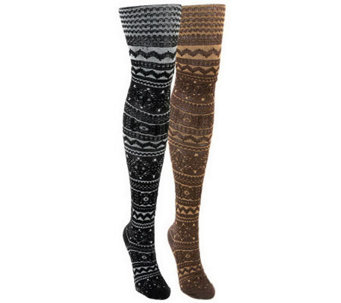 MUK LUKS Women's 2-Pair Pack Patterned Microfib er Tights - A330975