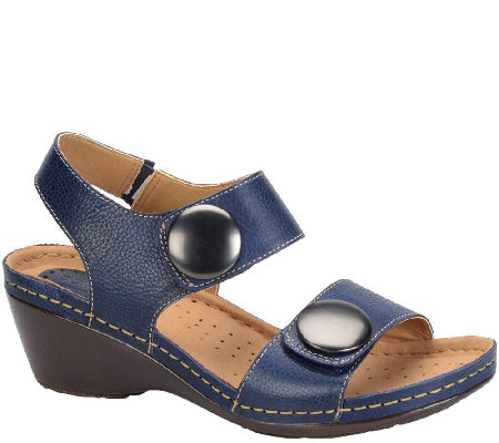 Softspots Leather Wedge Sandals - Pamela