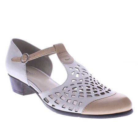Spring Step Leather T-Strap Pumps - Maiche