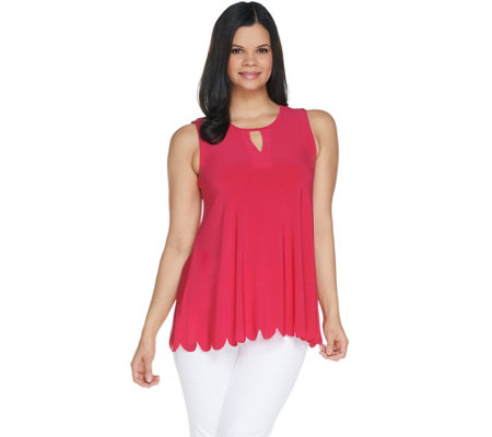 """As Is"" Attitudes by Renee Jersey Sleeveless Keyhole Top"