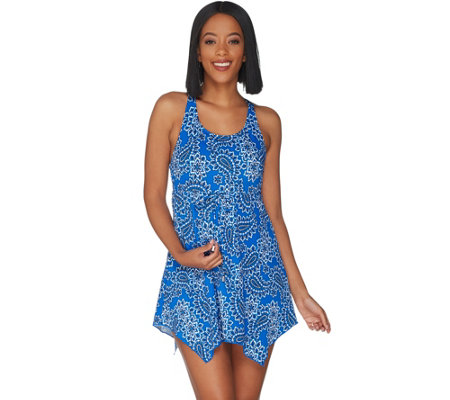 """As Is"" Denim & Co. Beach Handkerchief Hem Swim Dress"