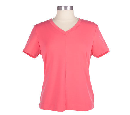 Women in Motion Stretch V-neck T-shirt with Shelf Bra — QVC.com