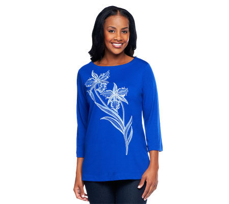 Bob Mackie's Embroidered Floral 3/4 Sleeve T-shirt Series