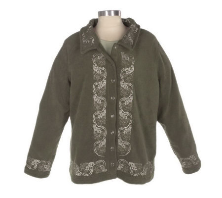 Denim & Co. Embroidered Fleece Jacket & Long Sleeve Stretch T-shirt