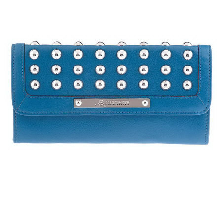 B.Makowsky Glove Leather Flap Wallet with Stud Accents