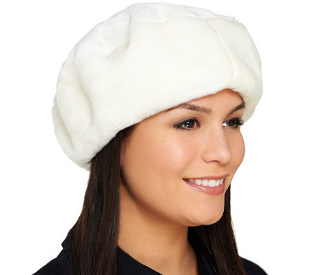 Dennis Basso Faux Fur Fully Lined Beret with Elastic Band
