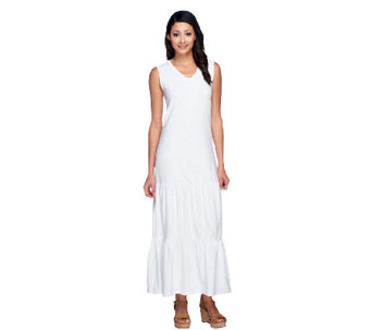 Denim & Co. Solid Tiered V-neck Knit Maxi Dress - A213676