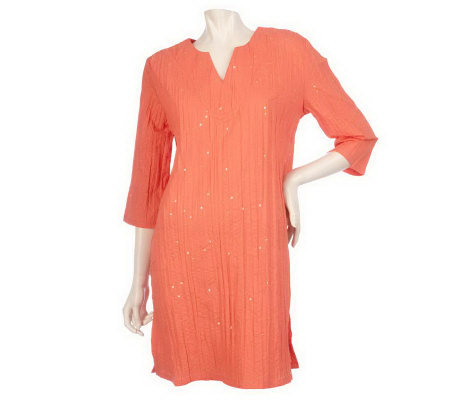 RUYI Crinkle Cotton Embroidered Cover-Up Tunic